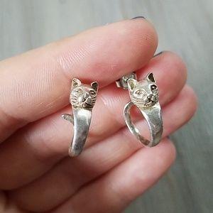 Cat hoop earrings sterling silver 925